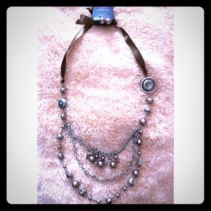 Brown, Silver, and Gray Tiered Necklace